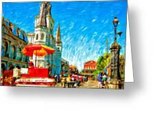 Jackson Square Painted Version Greeting Card by Steve Harrington