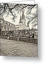 Jackson Square Winter Sepia Greeting Card by Steve Harrington