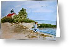 Jacob At East Point  Greeting Card by Nancy Patterson