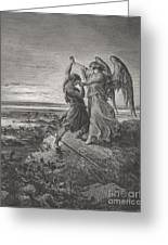 Jacob Wrestling With The Angel Greeting Card by Gustave Dore
