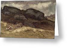 Jaguar Devouring Its Prey Greeting Card by Antoine Louis Barye