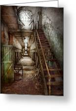 Jail - Eastern State Penitentiary - Down A Lonely Corridor Greeting Card by Mike Savad