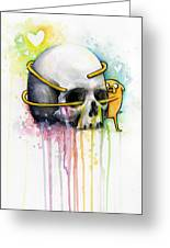Jake The Dog Hugging Skull Adventure Time Art Greeting Card by Olga Shvartsur