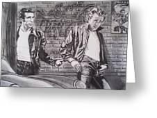 James Dean Meets The Fonz Greeting Card by Sean Connolly
