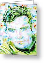 James T. Kirk - Watercolor Portrait Greeting Card by Fabrizio Cassetta
