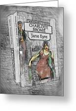Jane Eyre Book Abstract Greeting Card by Nik Helbig