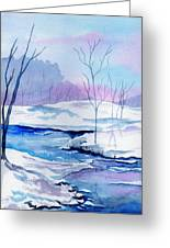 January Snowscape Greeting Card by Brenda Owen