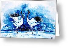 Japanese Cranes Greeting Card by Zaira Dzhaubaeva