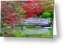 Japanese Garden Bridge In Springtime Greeting Card by Carol Groenen