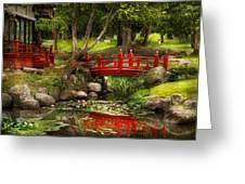 Japanese Garden - Meditation Greeting Card by Mike Savad