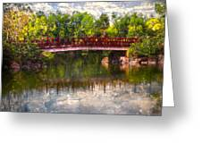 Japanese Gardens Bridge Greeting Card by Debra and Dave Vanderlaan
