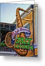 Jazz Kitchen Signage Downtown Disneyland Greeting Card by Thomas Woolworth