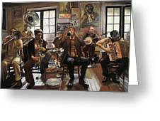Jazz Orchestra Greeting Card by Guido Borelli