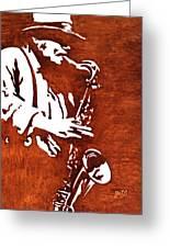Jazz Saxofon Player Coffee Painting Greeting Card by Georgeta  Blanaru