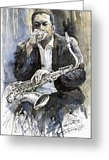 Jazz Saxophonist John Coltrane Yellow Greeting Card by Yuriy  Shevchuk