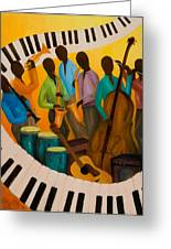 Jazz Septet Greeting Card by Larry Martin