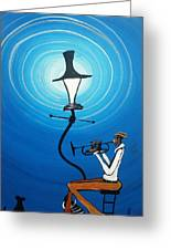 Jazz With My Dog Greeting Card by Guilbeaux Gallery