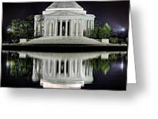 Jefferson Memorial - Night Reflection Greeting Card by Metro DC Photography