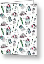 Jellyfish Repeat Print Greeting Card by Susan Claire