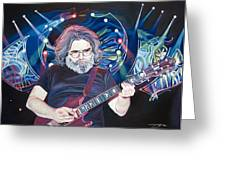 Jerry Garcia And Lights Greeting Card by Joshua Morton