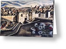Jerusalem From The Damascus Gate Greeting Card by Yael Avi-Yonah