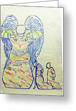 Jesus Guardian Angel Greeting Card by Gloria Ssali