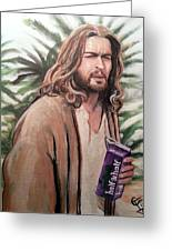 Jesus Lebowski Greeting Card by Tom Carlton