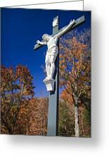 Jesus On The Cross Greeting Card by Adam Romanowicz