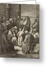 Jesus Questioning The Doctors Greeting Card by Antique Engravings