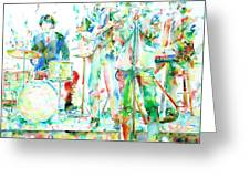 Jim Morrison And The Doors Live On Stage- Watercolor Portrait Greeting Card by Fabrizio Cassetta