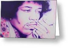 'jimi' Greeting Card by Christian Chapman