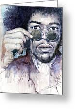 Jimi Hendrix 08 Greeting Card by Yuriy  Shevchuk