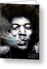 Jimi Hendrix-burning Lights-2 Greeting Card by Reggie Duffie