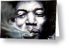 Jimi Hendrix-Burning Lights-2 Greeting Card by Reggie Duffie