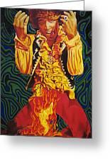 Jimi Hendrix Fire Greeting Card by Joshua Morton