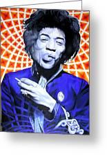 Jimi Hendrix Orange And Blue Greeting Card by Joshua Morton