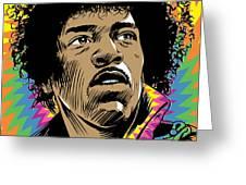 Jimi Hendrix Pop Art Greeting Card by Jim Zahniser