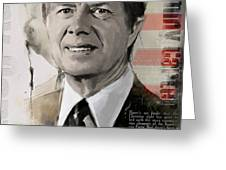 Jimmy Carter Greeting Card by Corporate Art Task Force