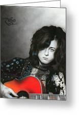 'jimmy Page' Greeting Card by Christian Chapman Art