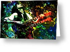 Jimmy Page - Led Zeppelin - Original Painting Print Greeting Card by Ryan RockChromatic