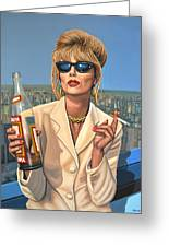 Joanna Lumley As Patsy Stone Greeting Card by Paul Meijering