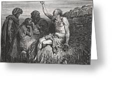Job and his Friends Greeting Card by Gustave Dore