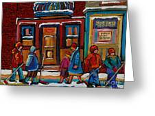 Joe Beef Restaurant And Boys With Hockey Sticks Greeting Card by Carole Spandau