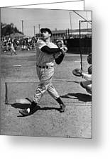 Joe Dimaggio Hits A Belter Greeting Card by Gianfranco Weiss