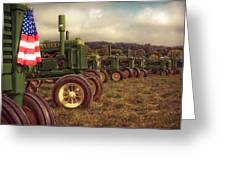John Deere Line-up Greeting Card by Patsy Zedar