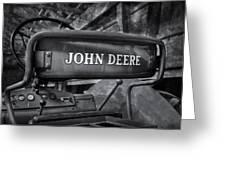 John Deere Tractor Bw Greeting Card by Susan Candelario