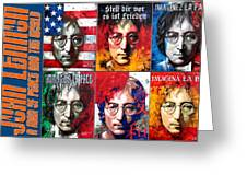 John Lennon - A Man Of Peace And The World. A Collage Greeting Card by Vitaliy Shcherbak