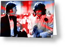 John Lennon And Mick Jagger Painting Greeting Card by Marvin Blaine