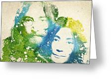 John Lennon And Yoko Ono Greeting Card by Aged Pixel