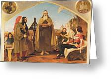 John Wycliffe Reading His Translation Of The Bible To John Of Gaunt Greeting Card by Philip Ralley